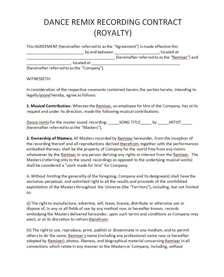 Royalty agreement contract free printable documents for Dance contract template