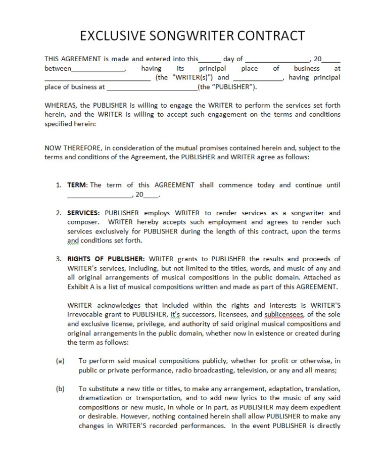 Label agreement template 28 images label agreement for Record label contracts templates