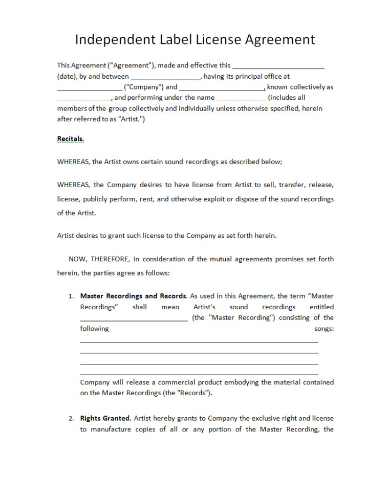 Music licensing contract free printable documents for Record label contracts templates