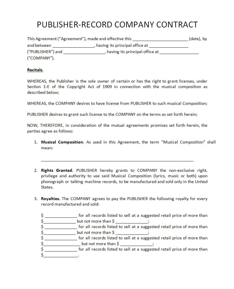 Recording contract template for Record label contracts templates